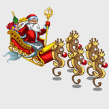 Triton Santa Claus on sleigh drawn by sea horses Royalty Free Stock Photo