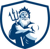 Triton Trident Arms Crossed Crest Retro Royalty Free Stock Images