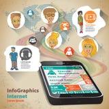 Tritt flache Design-Illustration Infographic für globales Telefon in Verbindung Stockbild