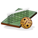 Tritt-Volleyball-Feld und Ball-Vektor-Illustration Stockfoto
