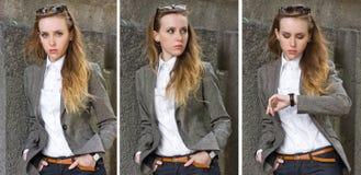 Trittico di giovane donna dei ritratti vicino alla parete immagine stock libera da diritti