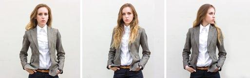 Trittico di giovane donna triste dei ritratti fotografia stock