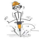 Triturador concreto del uso del constructor eléctrico Fotografía de archivo