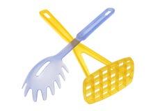 Trituradora plástica del servidor y de la patata del espagueti Imagen de archivo
