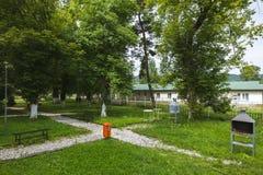 Triumf公园,在Campina罗马尼亚 夏天早晨在公园 免版税库存图片