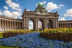 Triumf- båge, Bryssel, Belgien Royaltyfria Bilder