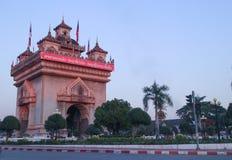 Triumf- båge eller patuxai på Vientiane, Laos Royaltyfri Foto