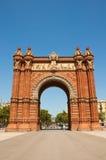 Triumf- båge i neo-morisk stil. Barcelona. Royaltyfri Bild