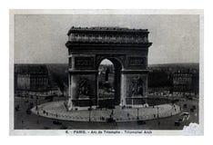 Triumf- båge med Paris stadspanorama, Frankrike, circa 20-tal, Royaltyfri Fotografi