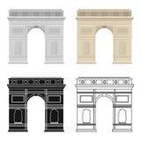 Triumfalnego łuku ikona w kreskówka stylu odizolowywającym na białym tle Francja kraju symbolu zapasu wektoru ilustracja Fotografia Stock