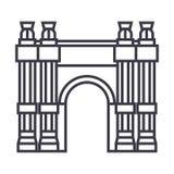 Triumfalnego łuku wektoru linii ikona, znak, ilustracja na tle, editable uderzenia Zdjęcia Royalty Free