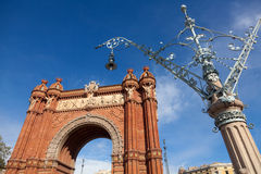Triumfera bågen (Båge de Triomf), Barcelona, Spanien royaltyfri bild
