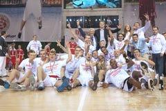 Triumph. SAMARA, RUSSIA - MAY 12: Players and management of BC Krasnye Krylia celebrates after winning the Cup of Russia on May 12, 2012 in Samara, Russia Stock Photos
