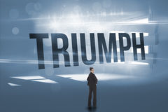 Triumph against digitally generated room with bordered up window. The word triumph and serious businesswoman against digitally generated room with bordered up Royalty Free Stock Images