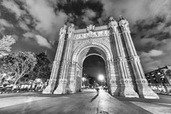 Triumph Arc in Barcelona at night, Spain.  Royalty Free Stock Image