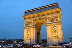 Triumph Arc in France. Triumph Arc at winter sunset - Arc de Triomphe of Paris Stock Photos