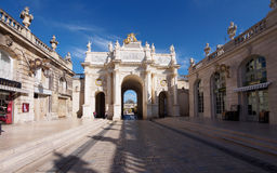 Triumph Arc At Place Stanislas in Nancy. Leading to Governors Palace Royalty Free Stock Photography