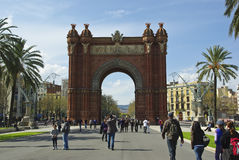 Triumph Arch (Arc de Triomf), Barcelona. Arc de Triomphe (Arc de Triomf) was built for the World Fair in 1888. It is a creation of architect Yosep Vilaseka and Stock Images