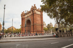 Triumph Arch (Arc de Triomf), Barcelona. Arc de Triomphe (Arc de Triomf) was built for the World Fair in 1888. It is a creation of architect Yosep Vilaseka and Royalty Free Stock Photography