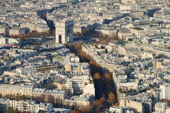 Triumph Arch Area, Paris, From Above. A view to the Arc de Triomphe area, Paris, from the Eiffel Tower Royalty Free Stock Photos