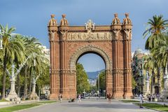 Triumph Arch in Barcelona, Spain. BARCELONA, SPAIN - AUGUST 15: Triumph Arch, Arc de Triomf in a sunny day in Spain Royalty Free Stock Image