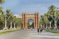 Triumph Arch in Barcelona, Spain. BARCELONA, SPAIN - AUGUST 15: Triumph Arch, Arc de Triomf in a sunny day in Spain Royalty Free Stock Photos
