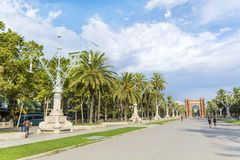 Triumph Arch in Barcelona, Spain. BARCELONA, SPAIN - AUGUST 15: Triumph Arch, Arc de Triomf in a sunny day in Spain Royalty Free Stock Photography