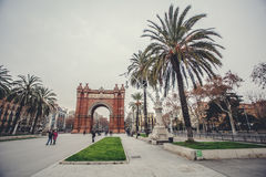 Triumph Arch of Barcelona in a summer day in Barcelona. Spain Europa. Old Building in Barcelona, Spain Royalty Free Stock Photography