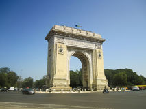 Triumph Arch in Bucharest, Romania. Bucharest's arch of triumph on a sunny day, Romania Stock Photos