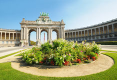 Triumph Arch in Cinquantennaire Parc. In Brussels, Belgium in clear day. This is one of architectural symbols of this city Royalty Free Stock Photography