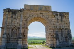Triumph Arch ruins at Volubilis, Morocco Royalty Free Stock Image