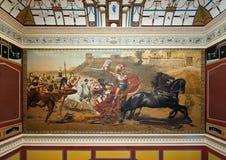 Triumph av Achilles, i den Achilleion slotten, Korfu, Grekland Royaltyfri Bild
