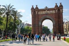 Triumph båge i Barcelona, Spanien Arkivbild