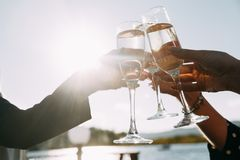 Triumph. cheers, couple clink royalty free stock image