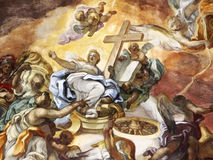 The triumph of the Christian religion, fresco. A detail of an old fresco from the vault of a baroque church in palermo, the subject is the triumph of the Royalty Free Stock Image