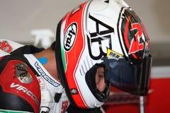 Triumph Daytona 675 Alex-Baldolini Leistung Suriano Lizenzfreies Stockfoto