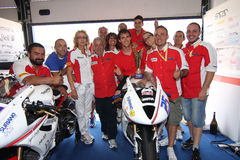 Triumph Daytona Podiumalex-Baldolini Suriano Lizenzfreies Stockbild