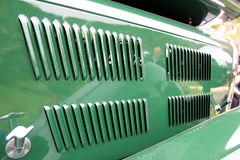 Triumph Gloria Vitesse Sports Tourer grille. Triumph Gloria Vitesse Sports Tourer car green, seen at the Fougeres 2019 car rally royalty free stock photos