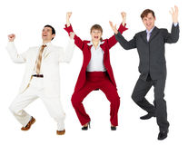 Triumph of happy command of businessmen Stock Photo
