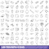 100 triumph icons set, outline style Royalty Free Stock Image