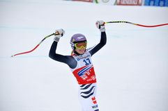 Triumph Maria-Hoefl-Riesch in Sochi Stockbild