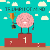 Triumph of mind. Brain character with winner cup on sports victory podium. Strong mind, success, rational thinking, will power concept. EPS 10 vector Stock Image