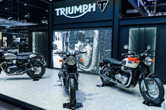 Triumph Motorcycle on display at Thailand International Motor Expo 2016. Stock Photography