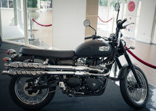 Triumph scrambler on display Stock Photography
