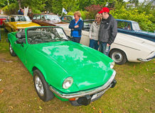 Triumph Spitfire. Sports car with  green   coachwork on show at Motormania held on 1st September 2013 at Grantown on Spey Stock Image