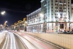 Triumph Square and transport metropolis, traffic blurry lights Stock Photo