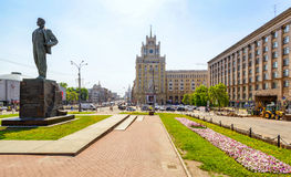 Triumph Square (Triumfalnaya Ploshchad) in Moscow. MOSCOW, RUSSIA - MAY 22, 2015: Triumph Square (Triumfalnaya Ploshchad) in the city center - a sample of the Stock Image