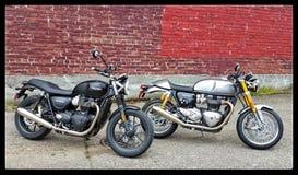 Triumph-Straattweeling en Thruxton 1200R stock foto's