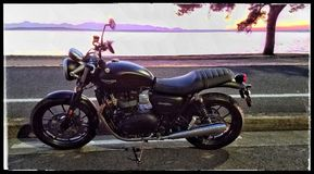 Triumph Street Twin in Sunset stock image