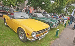 Triumph TR6. Sports car with  yellow  coachwork on show at Motormania held on 1st September 2013 at Grantown on Spey Royalty Free Stock Photos